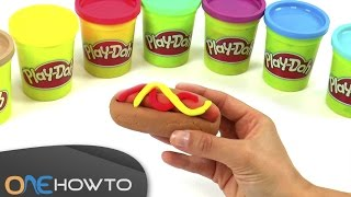 Making a hot-dog out of Play-Doh
