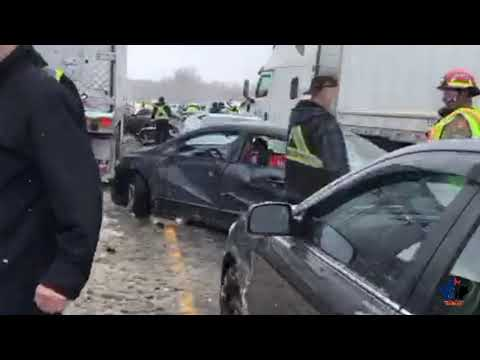Highway 401 westbound at Highway 25 multi car pile up - February 13, 2019 - Milton Ontario Mp3