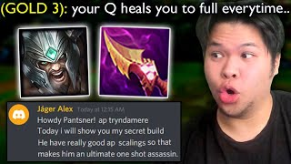 Gold 3 Player tells me AP Tryndamere heals from 0 HP to FULL HP with 1 Q.. so I tried it