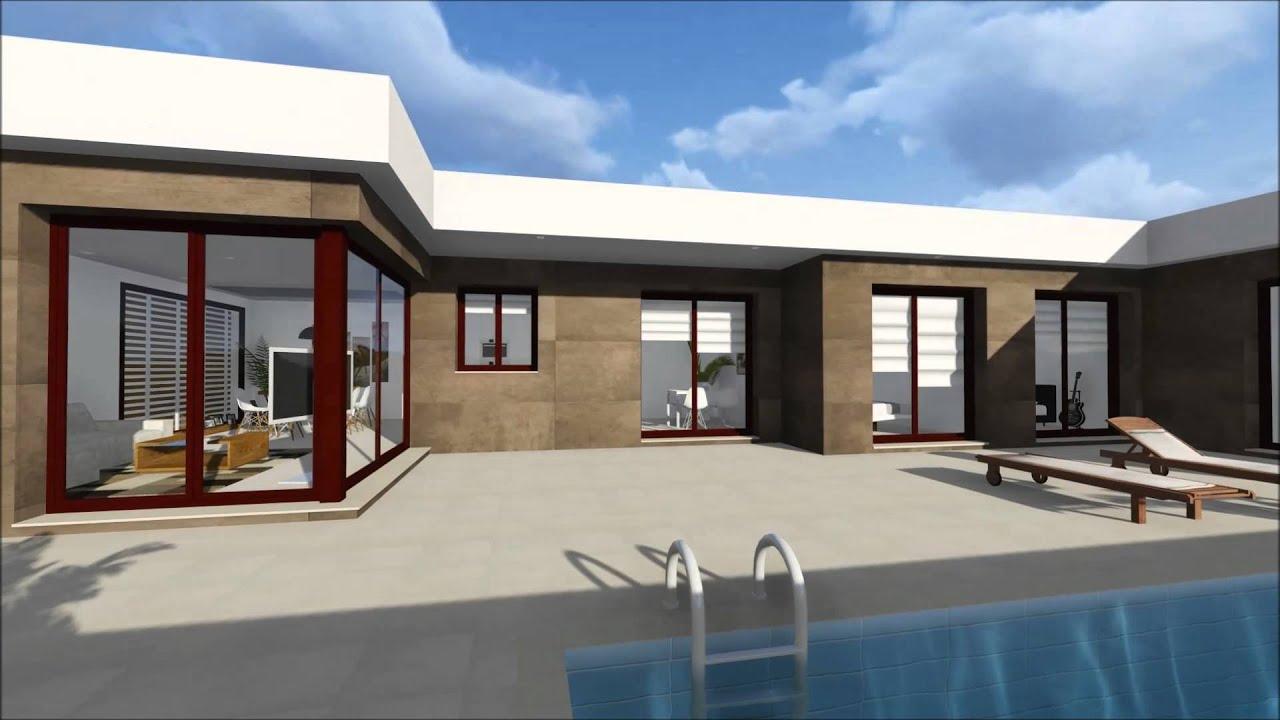 Vivienda unifamiliar planta baja youtube for Modelos de casas de una planta modernas