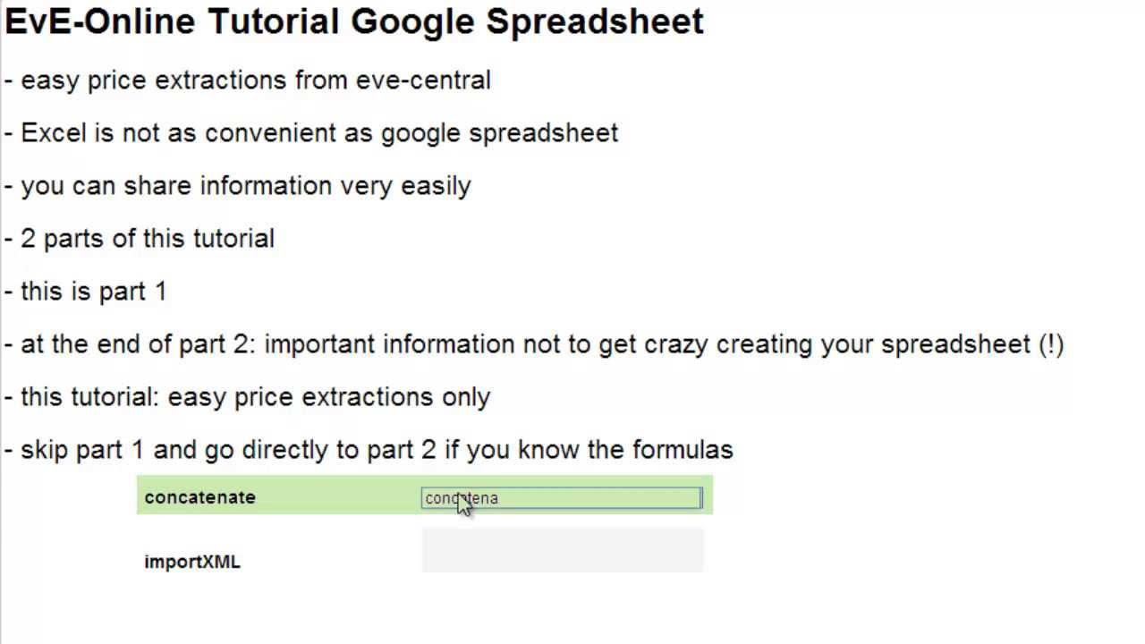 eve online tutorial google spreadsheet part 1 youtube
