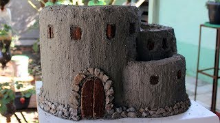 Como Fazer Castelo Vaso de Cimento para mini jardim  - Castle cement planter