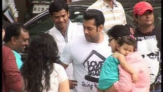 Salman Khan outside his house on eid morning.