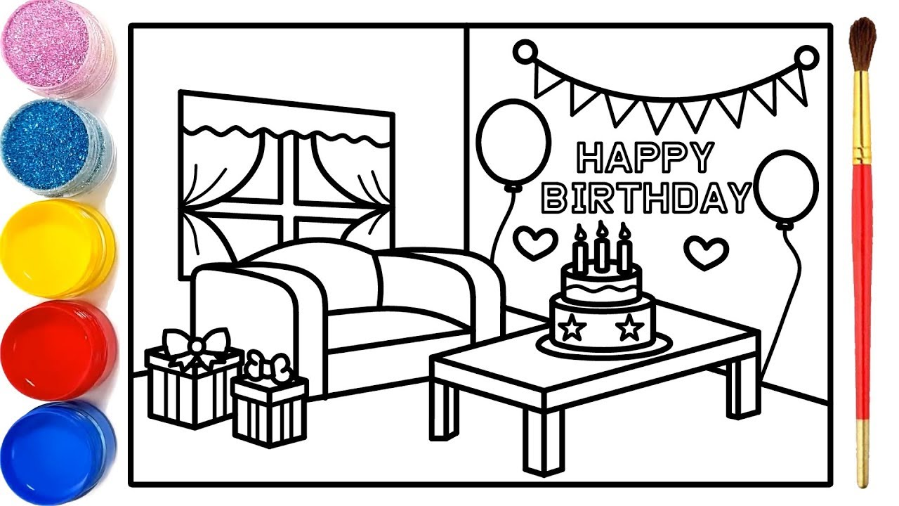 Vẽ tranh phòng sinh nhật cho bé tô màu| Dạy bé vẽ| Dạy bé tô màu| Birthday room Drawing and Coloring