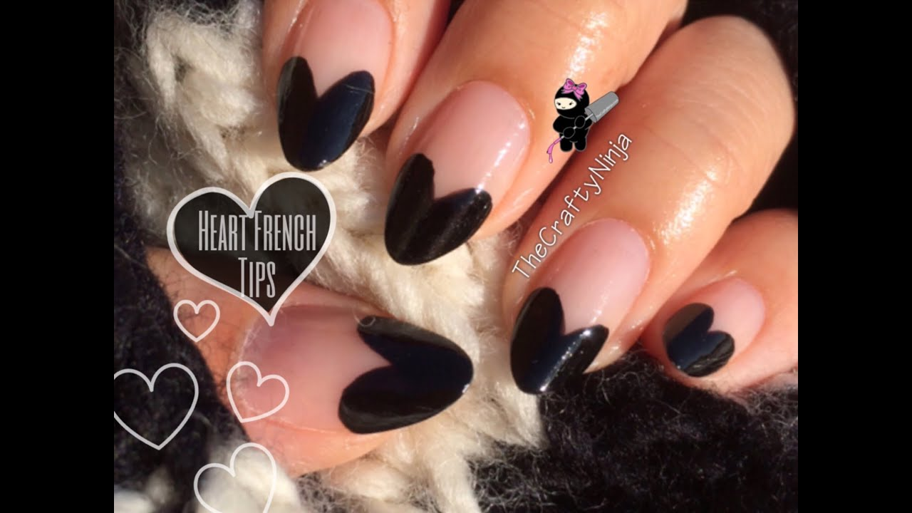 No tools: Heart French Tip Nails by The Crafty Ninja - YouTube