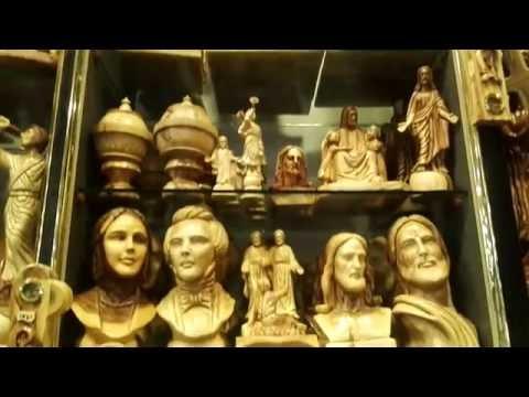 Bethlehem Olive Wood Carving sculptures at Johnny's souvenir shop