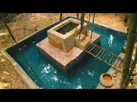 Dig Cliff To Build Mini Fish Pond On Around Underground Swimming Pool