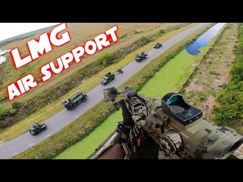 """Airsoft """"Little Bird"""" Helicopter Mission - PolarStar LMG Air Support !"""