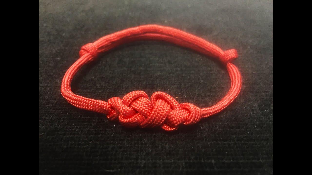 double eternity knot adjustable paracord friendship bracelet with sliding knot youtube. Black Bedroom Furniture Sets. Home Design Ideas