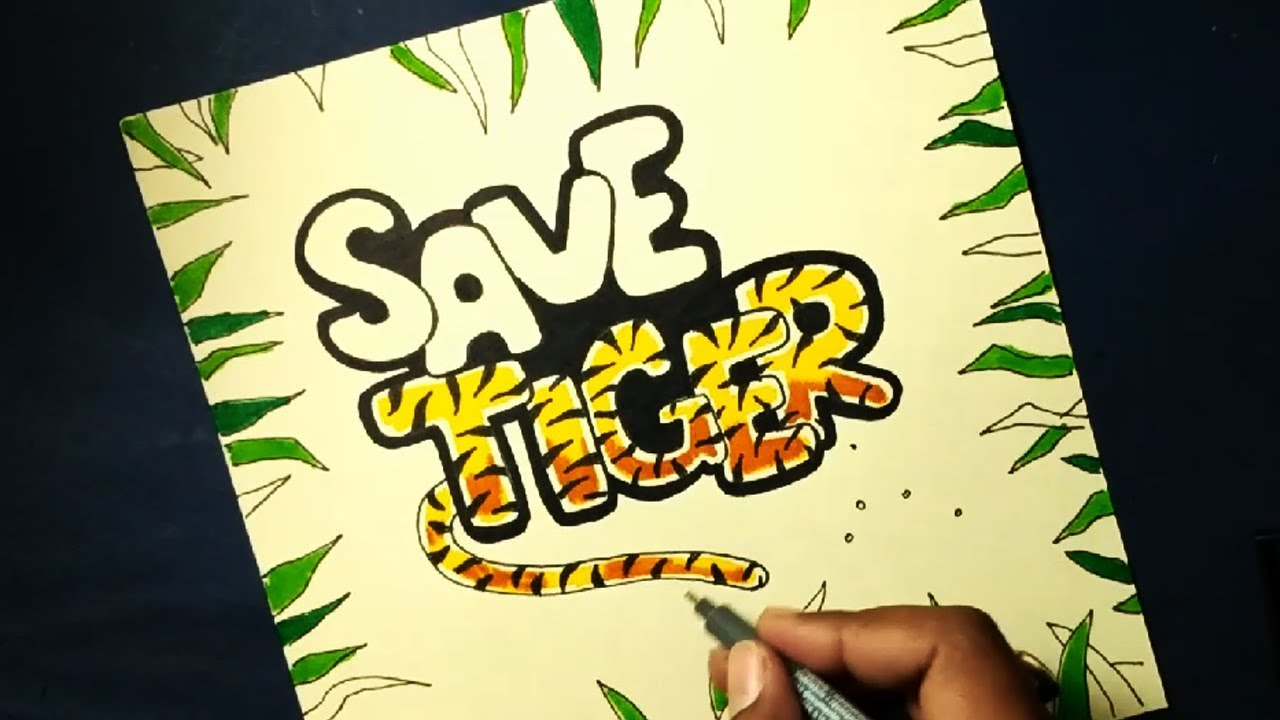 Very Easy Save Tiger Drawing For Kids Own Style Youtube
