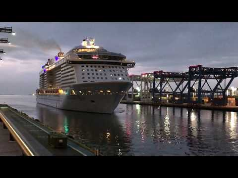 Anthem of the Seas docking at Black Falcon Cruise Terminal