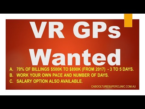 GP Jobs Brisbane - VR GP Wanted  - 70% of $500k to $890k. North Brisbane. Caboolture
