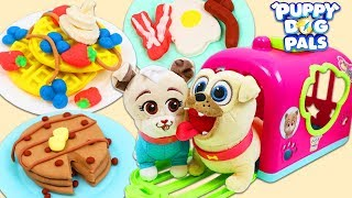 Feeding Disney Jr Puppy Dog Pals Rolly and Keia Huge Play Doh Breakfast Meal!