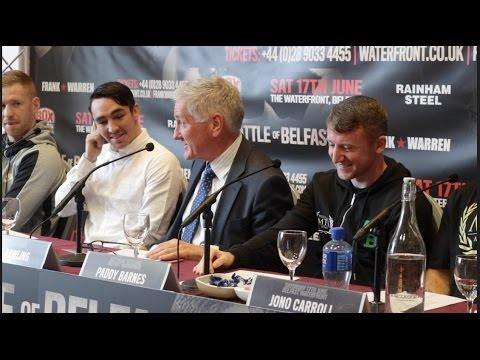 BATTLE OF BELFAST - FULL PRESS CONFERENCE   CONLAN  BARNES  CARROLL, EVANS, ORMOND, WARD, QUIGLEY