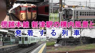 信越本線 新津駅の構内風景と発着する列車(2019.8.25撮影)