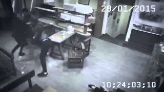 Meanwhile in China - Kung Fu Girl vs 3 Guys in Cafe