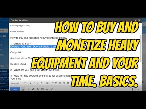 How to Buy and Monetize your equipment; and time - Basics