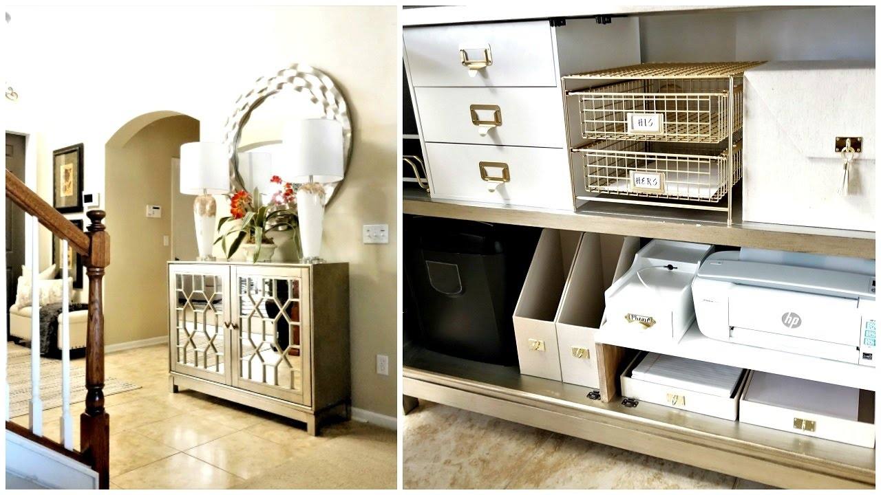 Metal Foyer Cabinet : New home organization entryway cabinet mail charging