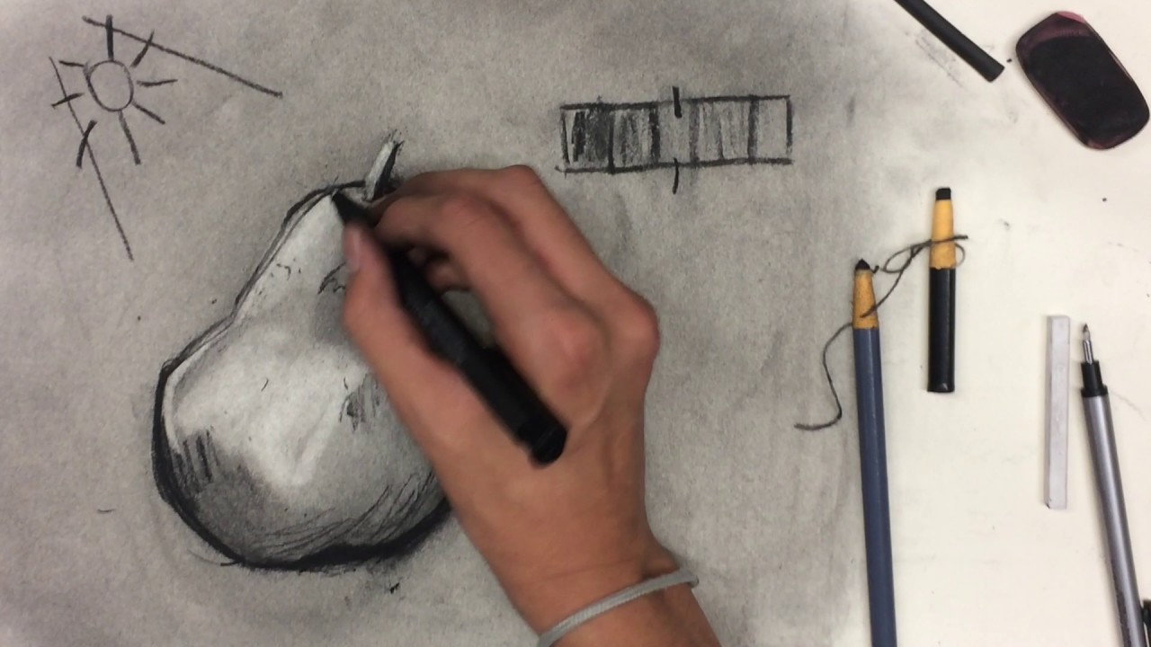 How To Draw A Pear (Charcoal Drawing Tutorial)