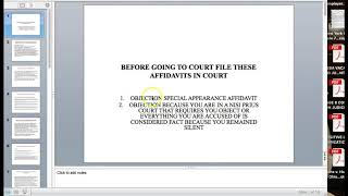 INSTRUCTIONS FOR FILING AFFIDAVITS BEFORE GOING TO COURT