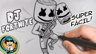 HOW TO DRAW DJ MARSHMELLO FROM THE GAME FORTNITE-WALKTHROUGH