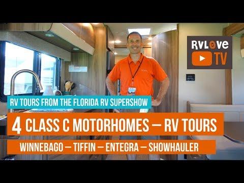RV Tours of 4 Class C Motorhomes – Winnebago, Tiffin, Entegra