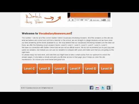 Answers To Vocab Level G At Vocabularyanswers Net Youtube