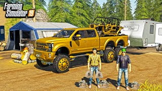 MR. CHOW COMES CAMPING! (BRINGS HIS $450,000 GOLD TRUCK) | FARMING SIMULATOR 2019