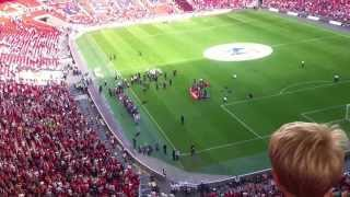 Man United Celebrating Community Shield at Wembley Stadium with cup and Anthem