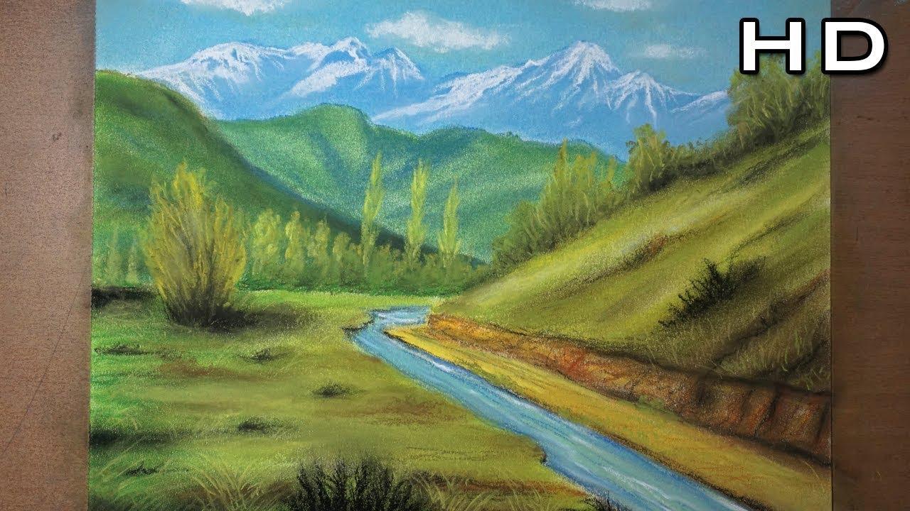 C mo pintar un hermoso paisaje de campo al pastel paso a paso tutorial de dibujo youtube - Como vallar un campo ...