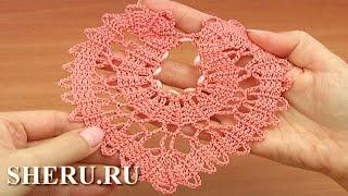 Crochet Brugge Heart Motif Lace  Урок 8 часть 1 из 2  Сердце в технике брюггского кружева