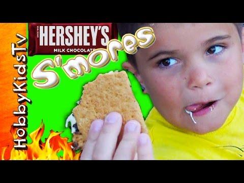 Hersheys S'MORES Kit! Fire Pit CHALLENGE + Marshmallow Mess HobbyKidsTV