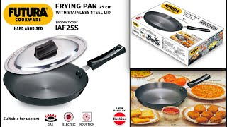 Hawkins Futura Hard Anodised Frying Pan with Lid 25cm