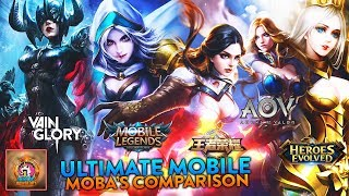 Ultimate Mobile MOBA's Comparison|Mobile Legends,Arena of Valor,Vainglory,Heroes Arena and more!!