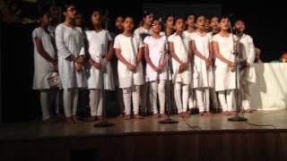 Mahila Seva Samaja school Rajyotsava program 2014. Vishva vinutana song