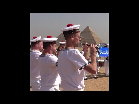 A French bagpipe band performed in front of the Giza Pyramids