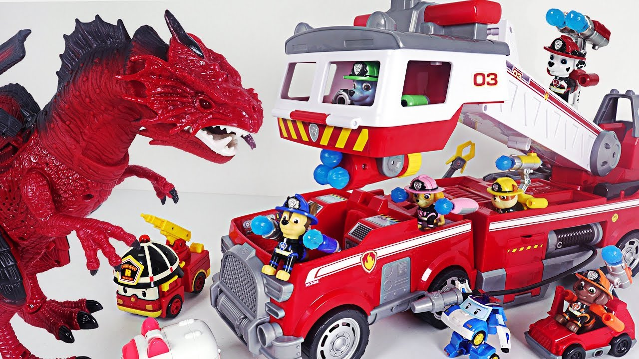 Dinosaur appeared in the volcano! Paw Patrol Ultimate Rescue transform Fire Truck! Go! #DuDuPopTOY