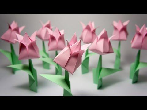 Hướng dẫn gấp hoa tuylip giấy đơn giản