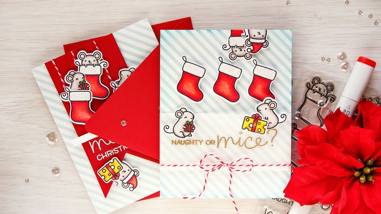 Naughty Or Mice Christmas Card With Lawn Fawn Youtube