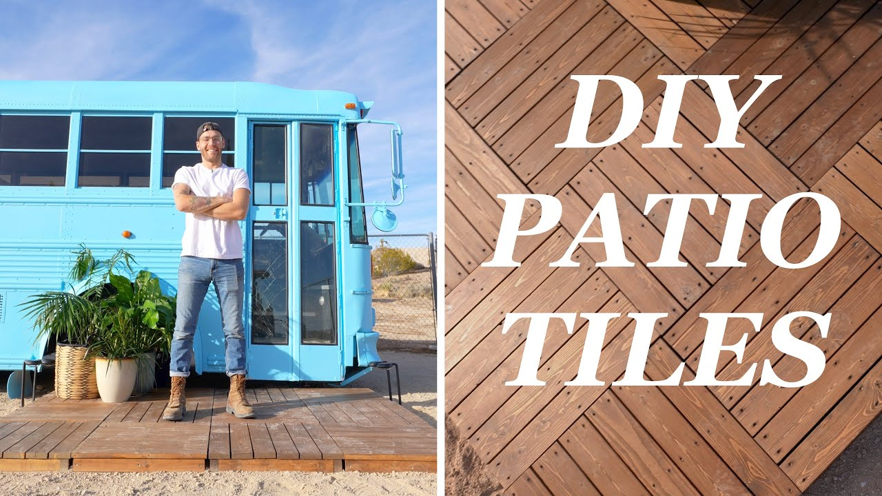 diy interlocking deck tiles portable patio for the school bus tiny house