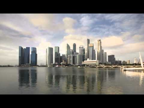 city skyline view across marina bay to the financial and business district  bkzuhek4b  D