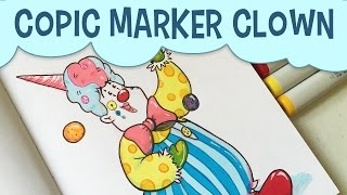 Copic Marker Challenge | Clown Illustration Drawing | Freelance Illustrator Copic Art