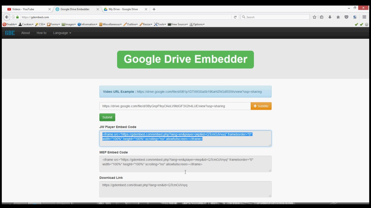 Embed Google Drive Video Player On Website