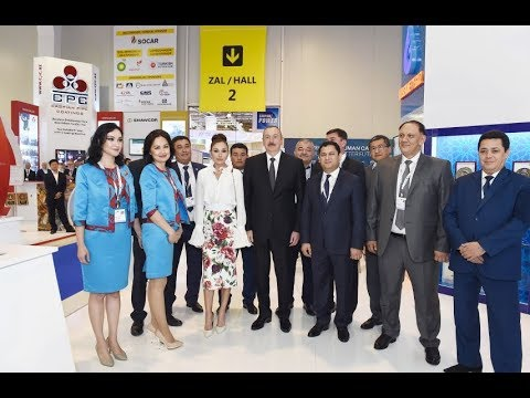 """Ilham Aliyev and Mehriban Aliyeva visit the """"Caspian Oil and Gas -2018"""" Exhibition"""