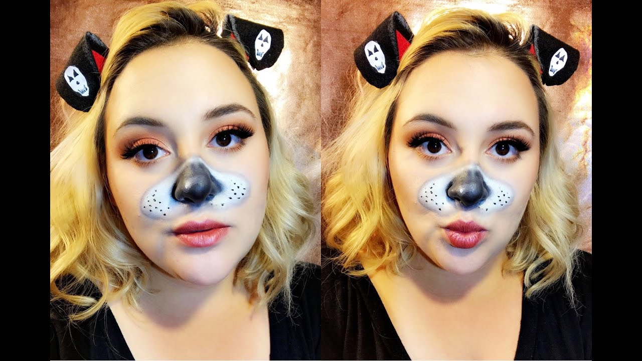 Halloween | DIY Snapchat Dog Filter Makeup! - YouTube