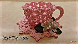 Crochet a TeaCup and Saucer Bag-O-Day Crochet Tutorial #331 Subtitles in 21 Languages