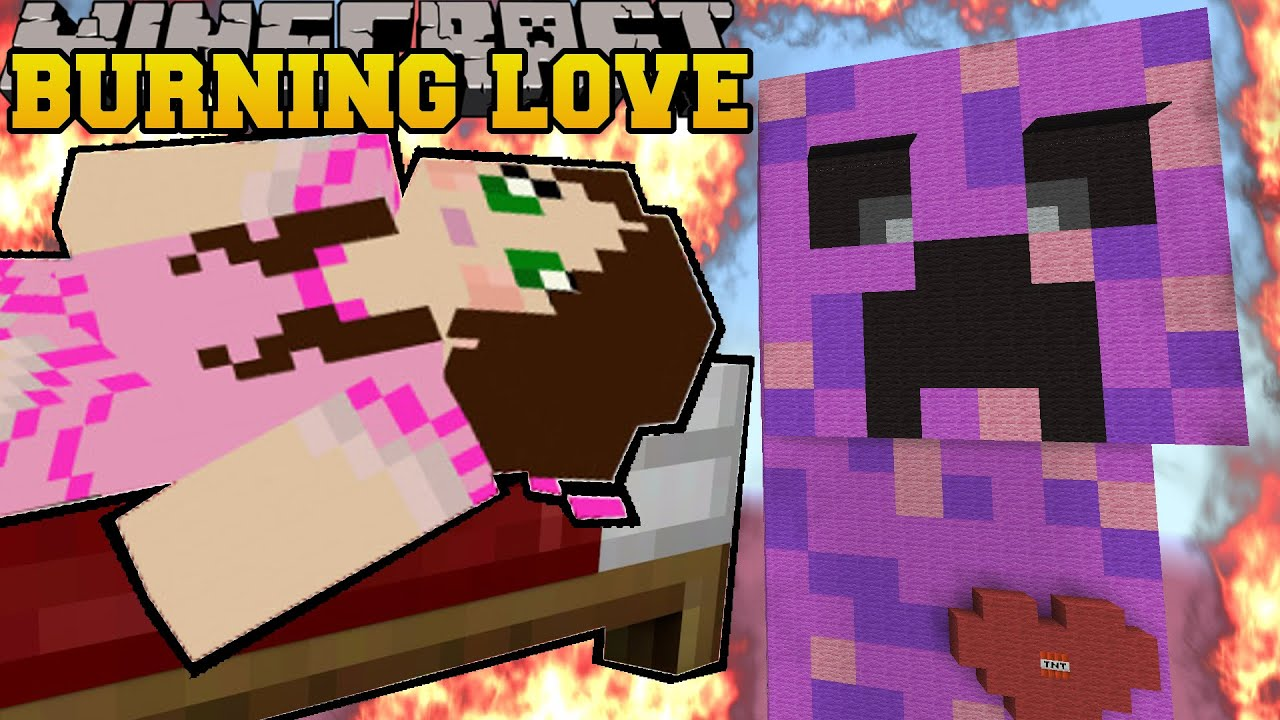 minecraft burning love creeper escape explosions and burning