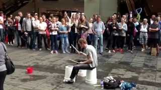 Amazing bucket drummer on Pitt St, Sydney, Australia.