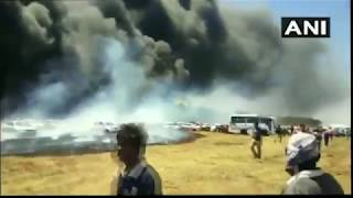 #New | Fire Accident in Bengaluru #aeroindia2019  |  80-100 cars gutted in fire