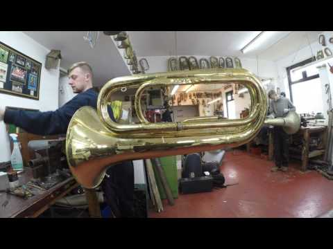 BBb Tuba/Bass strip down prior to restoration and Silver Plating at Mcqueens Musical Instruments
